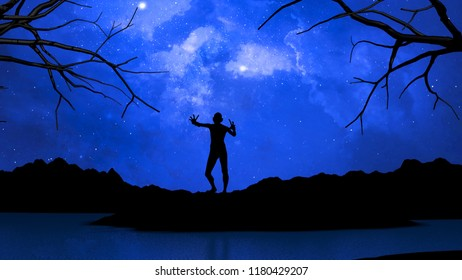 3D render of a Halloween landscape with zombie against space sky