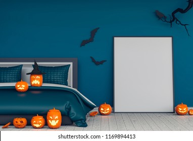 3D render of Halloween party in bed room pumpkins, jack-o-lantern