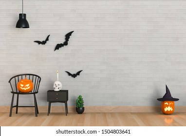 3D render of Halloween party in living room and pumpkins, jack-o-lantern