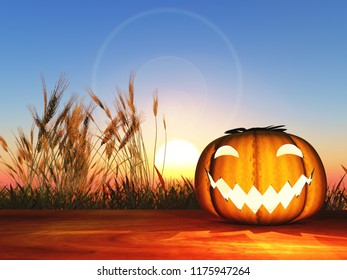 3D render of a Halloween pumpkin on a wooden table against a sunset sky