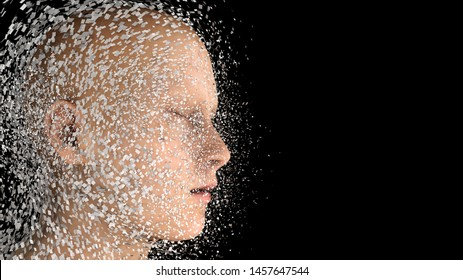 3d render. Head Human shattered portrait