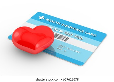 3d render of health insurance card with heart. All personal data is fictitious.