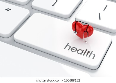 3d render of heart shape with stethoscope icon on the keyboard. Health life concept