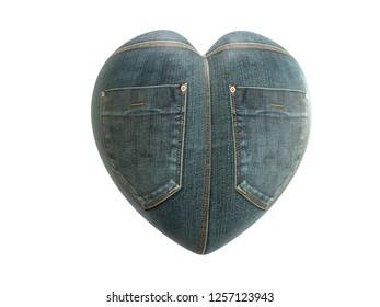 3D render of heart shape wrapped around with denim texture with two back pockets on white