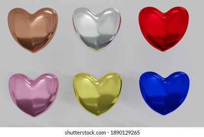 3D Render of hearts metal texture,  colorful.valentine day isolated.Graphic resources.silver,gold,glossy.