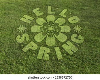 3D render of Hello Spring text as crop circle formed in the grassy meadow