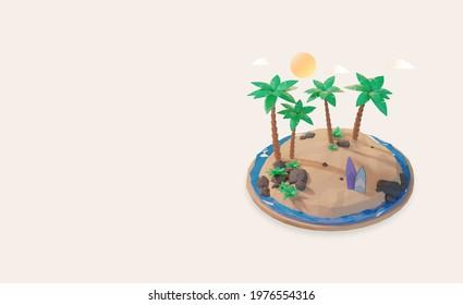 3d render, Hello summer, landing page design template