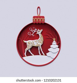3d render, holiday ornament, reindeer inside, red ball, christmas fir tree, snowball decor, stag, flat paper craft winter landscape, cut layers, greeting card, round frame, white background