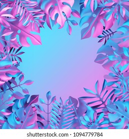 3d render, holographic tropical leaves, paper craft, neon color, vibrant botanical background, jungle nature, blank space