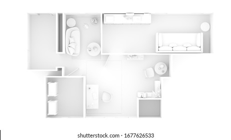 3D render of a home floor plan , 3D illustration. Open concept living apartment layout