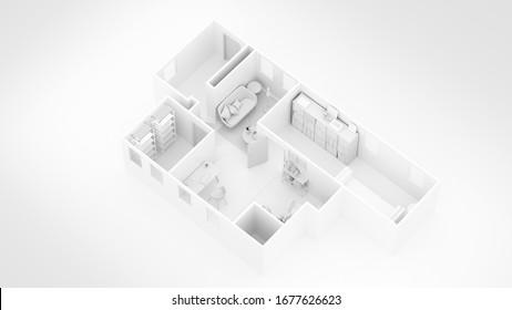 3D render of a home floor plan , 3D illustration. Open concept living apartment layout