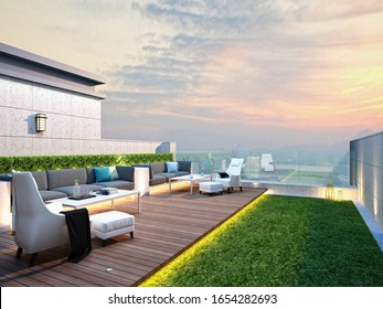 3d render home terrace balcony garden