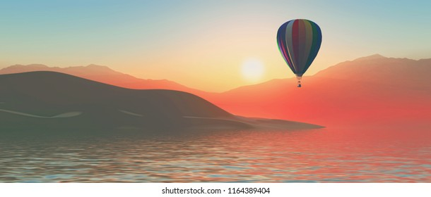 3D render of a hot air ballon against a sunset sky and island