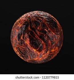 3D render of hot liquid lava planet on black