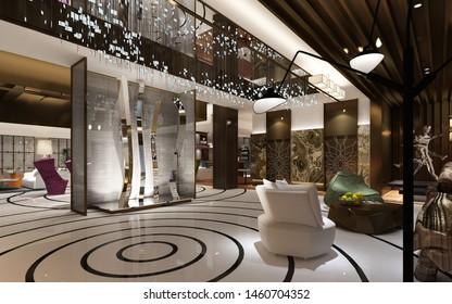 3d render of hotel lobby interior.