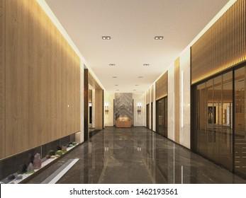 3d render hotel reception hall