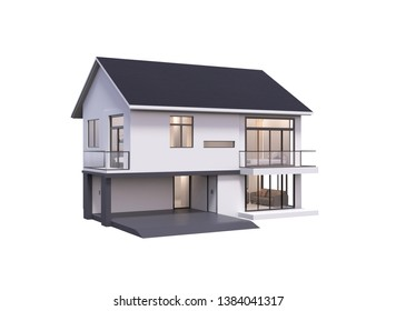 3d render of house isolated on a white.