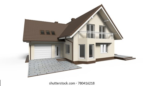 3d render of house isolated on a white background.