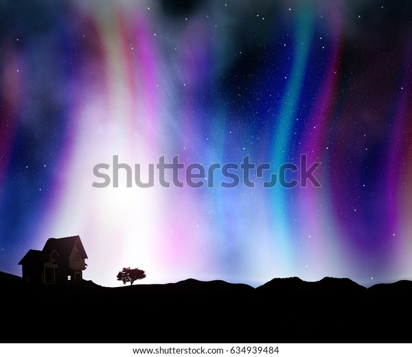 3D render of a house landscape against a night sky with aurora lights