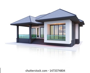 3d render house modern 1 floor building isolate on white background