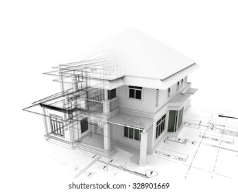 3d render of house  on plan