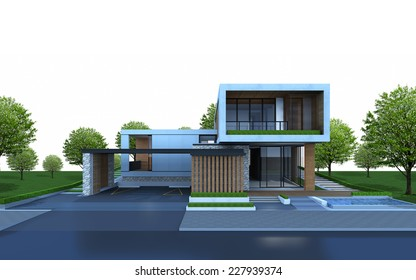 3D render of house with tree and green area on white background.