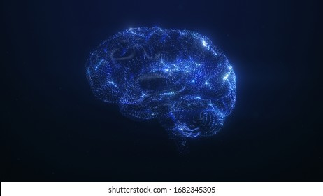 3D render of the human brain. Blue particles follow brain structure, neuronal and synapse activity, Artificial Intelligence (AI) and deep learning, digital brain with electrical impulses