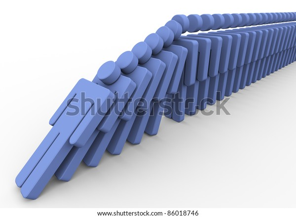 3d render of human domino. Concept of What happen when one fall in the queue.