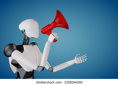 3D render of humanoid artificial intelligence robot holding a red megaphone announcing politely