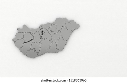 3d render of hungary map