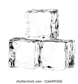 3D render of ice cubes on a white background
