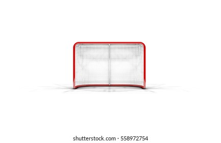 A 3D render of an ice hockey goal on an isolated white background