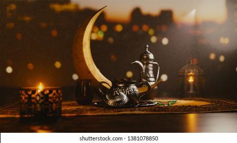 3D render of Iftar celebration silver utensil elements kept in Janamaz (mat). Decoration of illuminated lantern, beads rosary on outside blurred background. Iftar concept for Ramadan Mubarak Month.