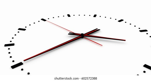 "3D render, 3d illustration. Abstract clock, dial with a marking and arrows. ""negative"" placement of the arrows."
