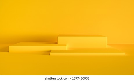 3D render illustration with abstract geometric shapes. Bright yellow color cubes for product promotion. Minimalist design in modern, realistic style with empty space.