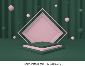 3d render illustration. Background with geometric composition include:rhombus, cube, frame. Modern trendy design.