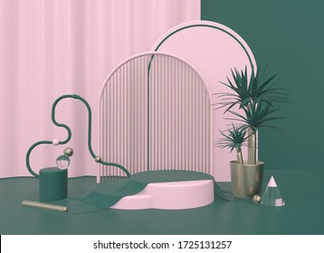 3d render illustration. Background with geometric composition include:  round stand, semicircular podium, sphere, ring, yucca plant in a pot. Modern trendy design. Pink, green and gold colors.