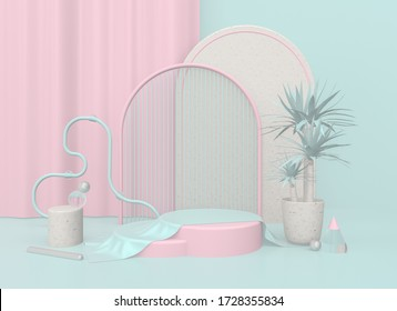 3d render illustration. Background with geometric composition include:  round stand, semicircular podium, sphere, ring, yucca plant in a pot. Modern trendy design. Pink and blue colors.