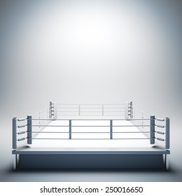 3d render illustration blank template layout of empty white boxing ring. Copy space to place your text, object, logo or photo boxers.