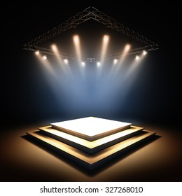 3d render illustration blank template layout of empty stage illuminated by spotlights. Copy space to place your text, object, or logo.