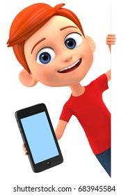 3d render illustration. The boy is a mobile phone and an empty card.