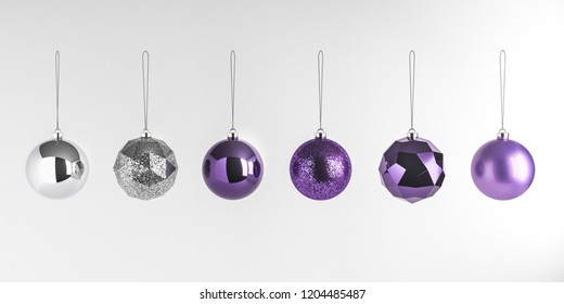 3d render illustration of christmas round balls on white background. Set of glass baubles hanging on rope. Glossy realistic elements for promo, party, event design. Sparkle silver and violet toys.