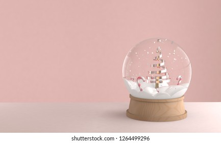 3D render illustration of christmas snowball decoration with christmas tree  and candy inside, copy space for text