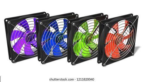 3D render illustration of color computer PC chassis and CPU cooler fans isolated on white background