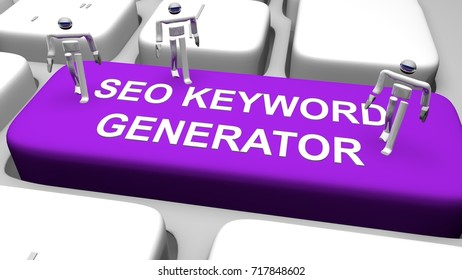"3D render illustration of computer keyboard with the print ""SEO KEYWORD GENERATOR"" on purple button"