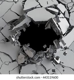 3d render, 3d illustration, explosion, cracked concrete wall, bullet hole, destruction, abstract background