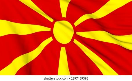 3D render illustration of flag of Republic of North Macedonia waving on wind. Close up photo, full screen