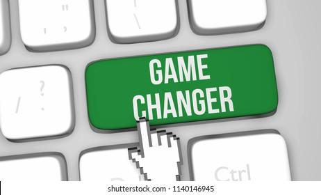 3D render illustration of Game Changer keyboard key