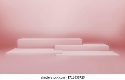 Illustration de rendu 3D concept contemporain géométrique minimal, podium de cube couleur rose pastel ou piédestal et conception maquillée, espace vide pour l'affichage du produit, espace pour la publicité
