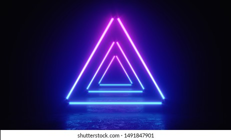 3d render illustration of glowing triangle lines, neon lights, abstract vintage background, ultraviolet, spectrum vibrant colors, laser show